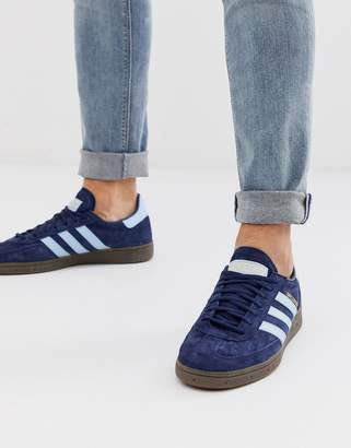 adidas handball spezial trainers in navy with gum sole