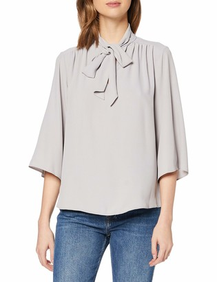 Dorothy Perkins Women's Pussybow Tie Neck 3/4 Sleeve Top Blouse