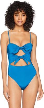 Trina Turk Women's Double Tie Front Keyhole Bandeau One Piece Swimsuit