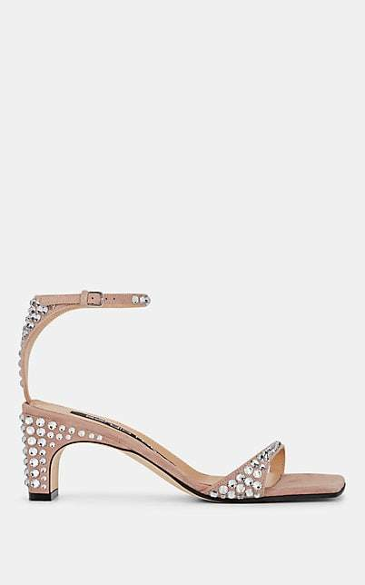 Sergio Rossi Women's Crystal-Embellished Suede Ankle-Strap Sandals - Pink