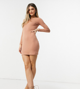 Outrageous Fortune exclusive long sleeve mini dress in camel