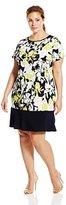 MSK Women's Plus-Size Short Sleeve Colorblocked Dress