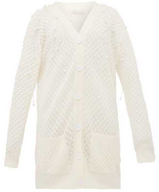 Christopher Kane Faux Pearl-embellished Wool Cardigan - Womens - Beige