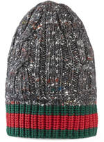 Gucci Cable knit hat with Web
