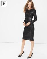White House Black Market Long Sleeve Black Sequin Sheath Dress