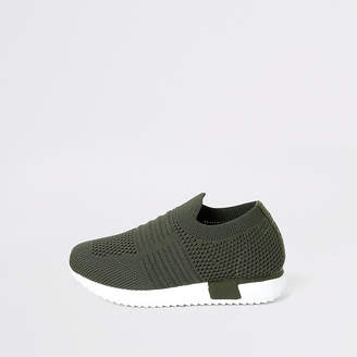 River Island Mini girls khaki knit runner trainers