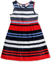 Sweet Heart Rose Striped Pleated Party Dress, Little Girls (2-6X)