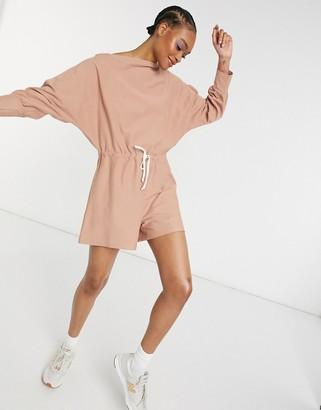 ASOS DESIGN slouchy off-the-shoulder trackie playsuit in dusky pink