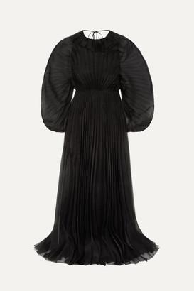 Valentino Ruffled Plisse Silk-organza Gown - Black