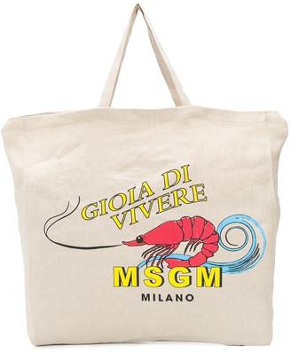 MSGM Shrimp-Print Tote Bag