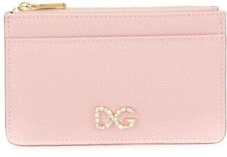 Dolce & Gabbana rhinestone logo zip purse
