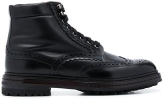 Santoni Brogue Detailing Ankle Boots
