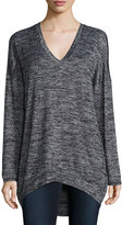 Joan Vass V-Neck High-Low Top, Charcoal