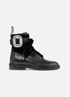 Roger Vivier Viv Rangers Crystal-embellished Paneled Leather And Suede Ankle Boots - Black