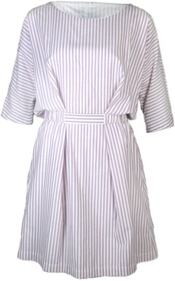 Format NEAT striped dress - S - White/Red/Rose Gold