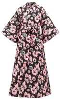 La Vie Style House - No.12 Quilted Floral-jacquard Kimono Dress - Womens - Black Pink