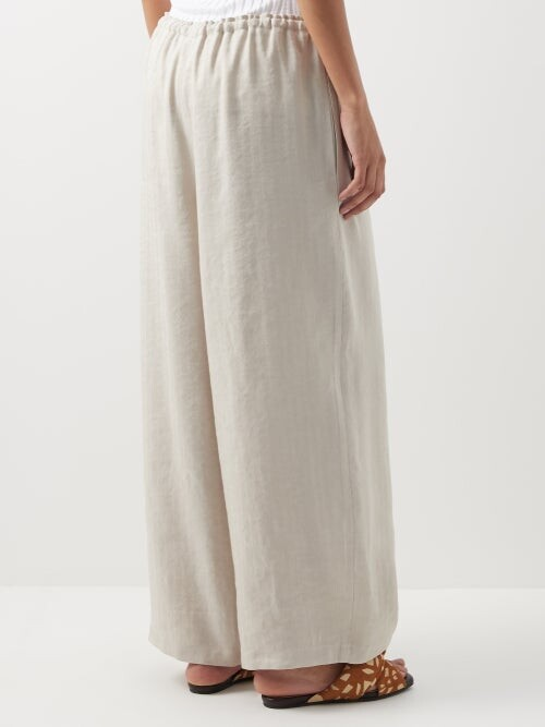 Thumbnail for your product : Raey Drawstring-waist Linen-blend Chino Trousers - Light Beige