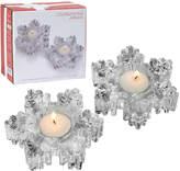 Mikasa Rejoice Set of 2 Glass Snowflake Tealight Holders