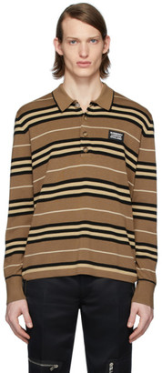 Burberry Brown Icon Stripe Long Sleeve Polo