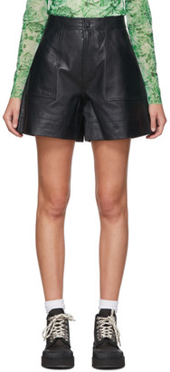 Ganni Black Leather Shorts
