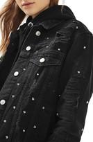 Topshop Women's Studded Distressed Denim Jacket