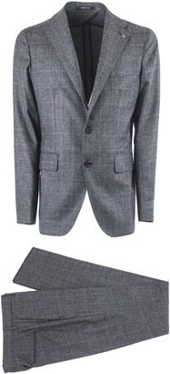 Tagliatore Check Design Grey Virgin Wool Two Piece Suit