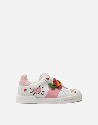 Dolce & Gabbana Portofino Light Sneakers In Calfskin With Embroidery