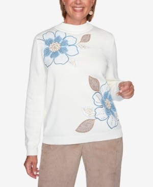 Alfred Dunner Women's Missy Dover Cliffs Asymmetric Floral Embroidery Sweater