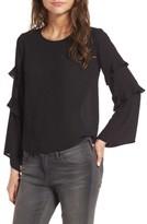 Lush Women's Ruffle Bell Sleeve Blouse