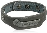 Diesel Men's Leather Black Cuff Bracelet