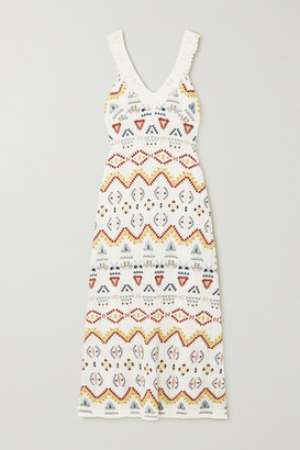 Vanessa Bruno Nawa Crocheted Lace-trimmed Embroidered Voile Maxi Dress - Ecru