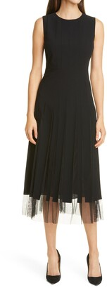 HUGO BOSS Divoby Pleated Mesh Fit & Flare Dress