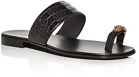 Giuseppe Zanotti Men's Croc-Embossed Leather Slide Sandals