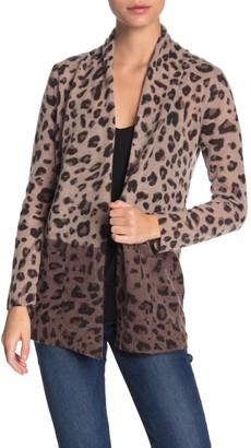 M Magaschoni Cheetah Print Pocket Cashmere Cardigan (Petite)