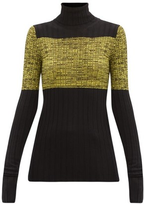 Petar Petrov Nika Roll-neck Silk-panelled Wool Sweater - Black Yellow
