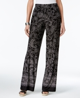 NY Collection Petite Paisley-Print Soft Pants
