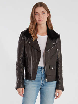 Rebecca Minkoff Andrea Leather Trim Crepe Wool Jacket