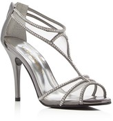 Caparros Bluebell Metallic Rhinestone T-Strap High Heel Sandals