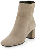 Prada Suede Square-Toe Ankle Boot, Clay (Argilla)