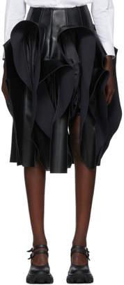 Comme des Garcons Black Faux-Leather Ruffle Skirt