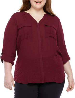 A.N.A Plus Womens Long Sleeve Relaxed Fit Button-Front Shirt