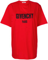 Givenchy Red distressed logo T shirt