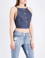 Area Berry halterneck denim top