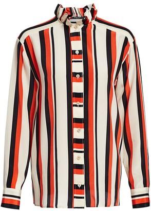 Derek Lam Ruffle-Collar Striped Silk Shirt