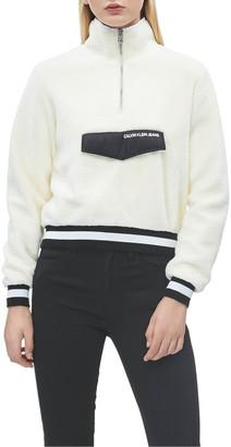 Calvin Klein Jeans Sherpa Half Zip Mock Neck Wint