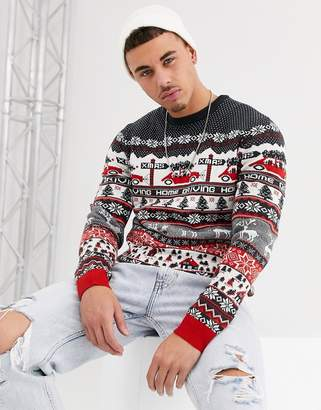 ONLY & SONS Christmas driving home jumper in dark navy