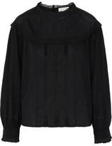 Current/Elliott The Whittier Crochet-Trimmed Crinkled Cotton-Gauze Blouse