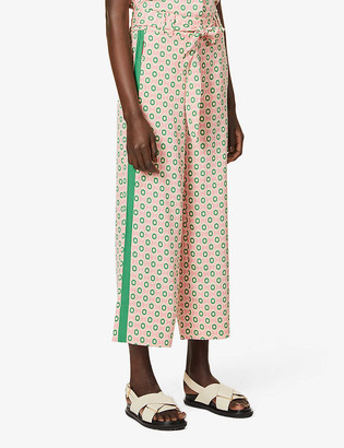 Me And Em Summer graphic-print relaxed high-rise crepe trousers