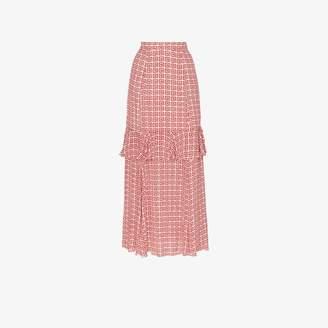 Rebecca De Ravenel printed frilled silk maxi skirt