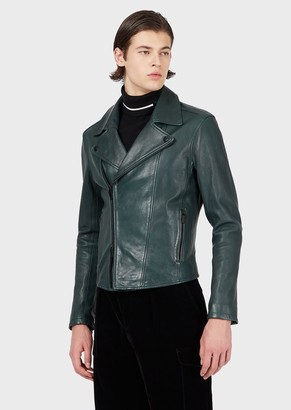 Emporio Armani Biker Jacket In Vegetable-Tanned Lambskin Nappa Leather